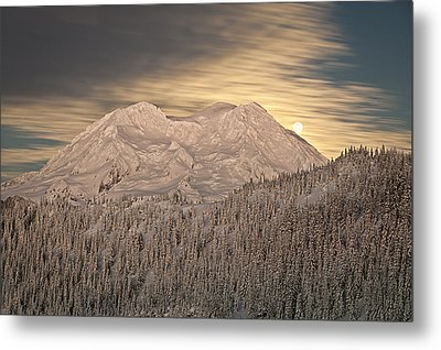 Mount Rainier Full Moonrise Winter Metal Print by Ed Book