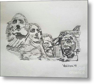 Mount Rushmore Graphite Pencil Sketch Metal Print by Scott D Van Osdol
