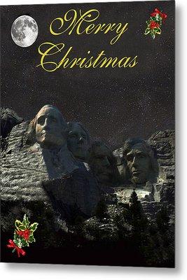 Mount Rushmore Merry Christmas Metal Print