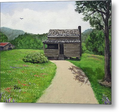 Metal Print featuring the painting Mountain Cabin by Jimmie Bartlett