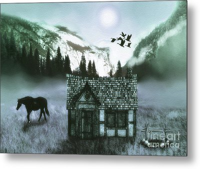 Mountain  Cabin Metal Print by KaFra Art