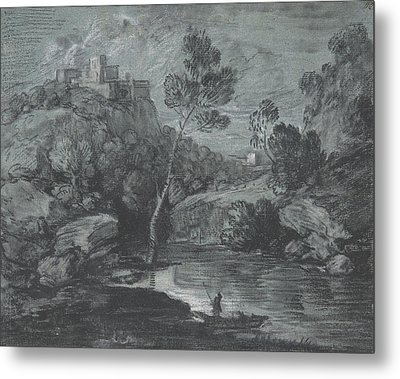 Mountain Landscape With A Castle And A Boatman Metal Print