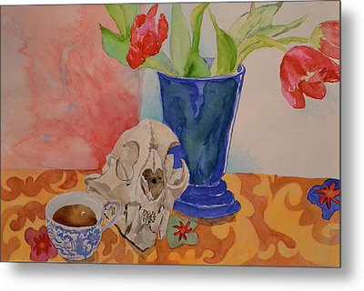 Metal Print featuring the painting Mountain Lion Skull Tea And Tulips by Beverley Harper Tinsley