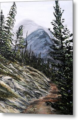 Metal Print featuring the painting Mountain Pathway by Patricia L Davidson