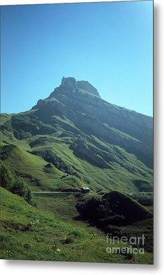 Mountain Peak With Farms Metal Print