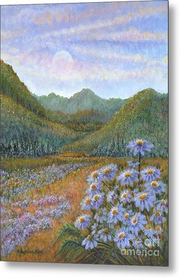 Mountains And Asters Metal Print