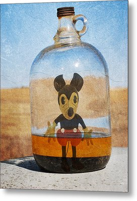 Mouse In A Bottle  Metal Print by Jerry Cordeiro