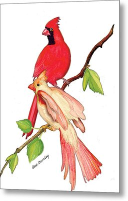 Metal Print featuring the painting Mr. And Mrs. Cardinal by Anne Beverley-Stamps