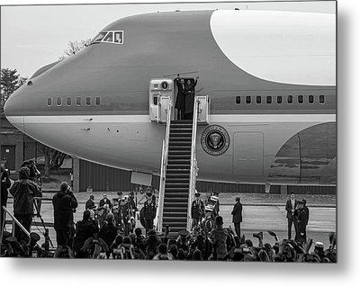 Mr And Mrs Obama Waving On Air Force One Waving Goodbye After Leaving Office Metal Print by Valentina Lopez