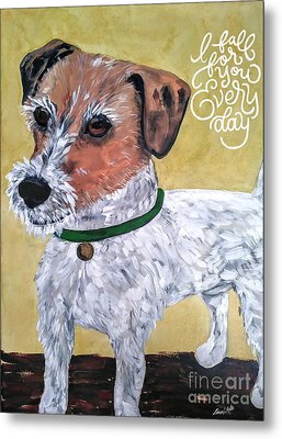 Metal Print featuring the painting Mr. R. Terrier by Reina Resto