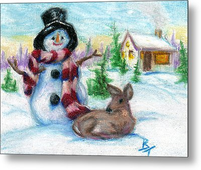 Mr. Snowman Aceo Metal Print by Brenda Thour