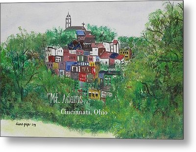 Mt Adams Cincinnati Ohio With Title Metal Print
