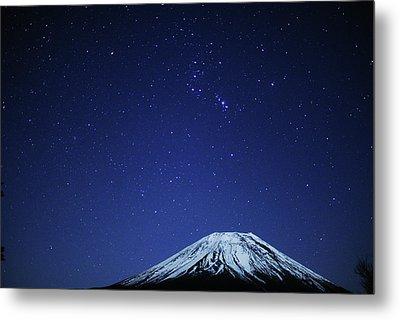 Mt.fuji And Winter Stars Metal Print by Takeshi.K