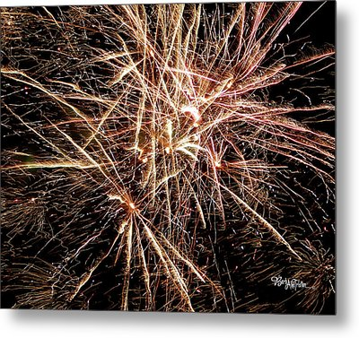 Metal Print featuring the photograph Multi Blast Fireworks #0721 by Barbara Tristan