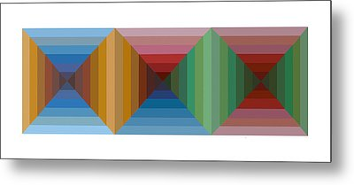 Multi-color Graphic Horizontal Maze Metal Print by Beverly Trivane