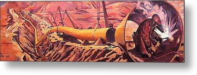 Mural 12x90 Feet Detail Pipeline Metal Print by Tim  Heimdal