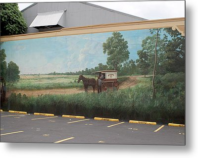 Mural Of Horse And Buggy In Arkansas Metal Print by Carl Purcell