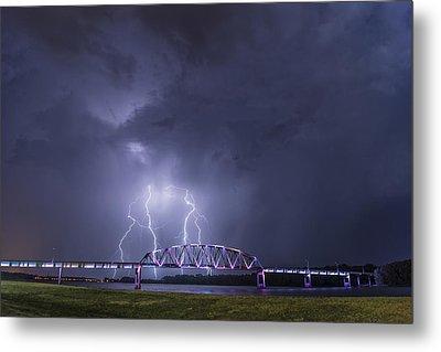 Muscatine Bridge Lightning Metal Print by Paul Brooks