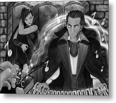Music Is Magic - Black And White Fantasy Art Metal Print by Raphael Lopez