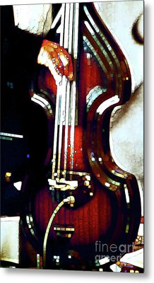 Music Man Bass Violin Metal Print by Linda  Parker