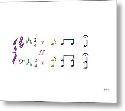 Metal Print featuring the digital art Music Notes 1 by David Bridburg