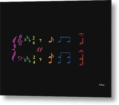 Metal Print featuring the digital art Music Notes 35 by David Bridburg