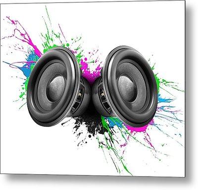 Music Speakers Colorful Design Metal Print by Johan Swanepoel