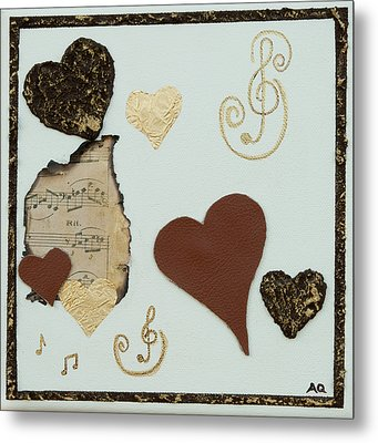 Musical Love - Tan Hearts Metal Print by Alison Quine