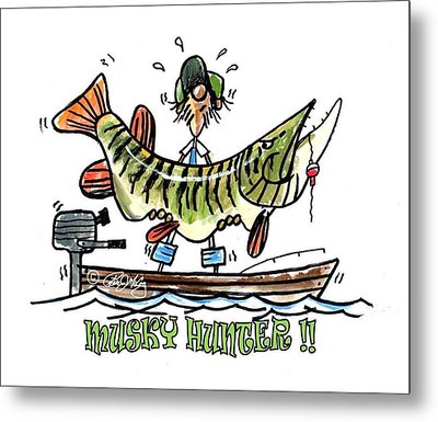 Musky Hunter - Cartoon Metal Print