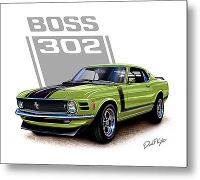 Mustang Boss 302 Grabber Green Metal Print by David Kyte