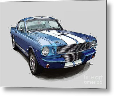 Mustang Shelby 1965 Handmade Drawing For Man Cave Metal Print