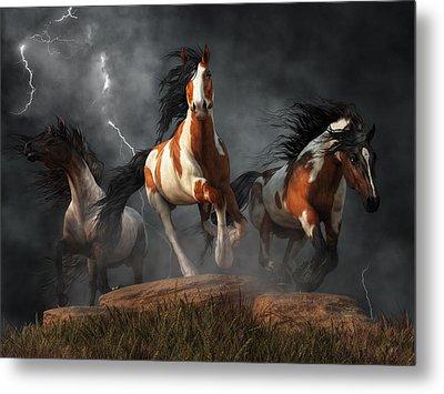 Mustangs Of The Storm Metal Print by Daniel Eskridge
