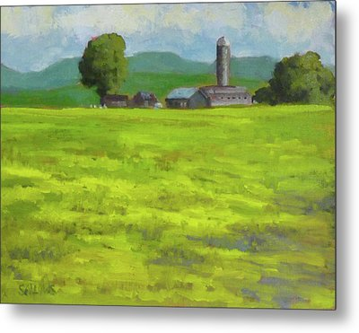 Mustard Fields Indiana Metal Print by Nora Sallows