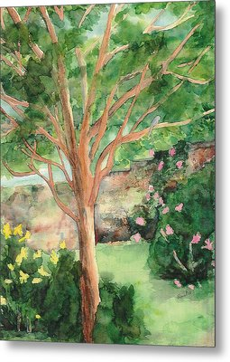 Metal Print featuring the painting My Backyard by Vicki  Housel