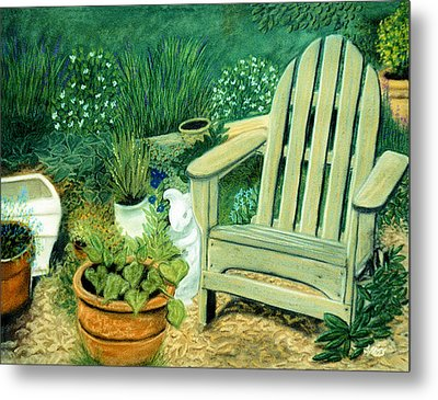 My Garden Chair Metal Print by Jan Amiss