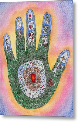 My Handprint On The World Metal Print by Melanie Rochat