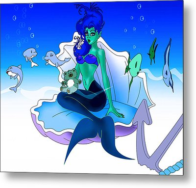 Metal Print featuring the painting My Little Mermaid by Lynn Rider