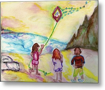 Metal Print featuring the painting My Sister My Brother My Kite by Helena Bebirian