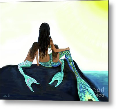 Metal Print featuring the painting My Sunshine Girls by Leslie Allen