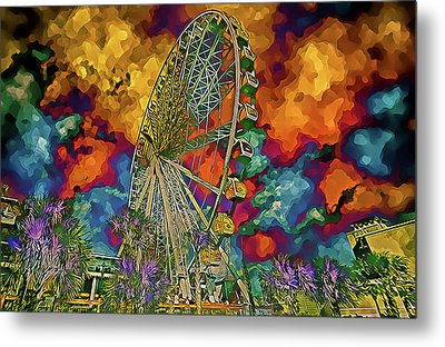 Metal Print featuring the photograph Myrtle Beach Skywheel Abstract by Bill Barber