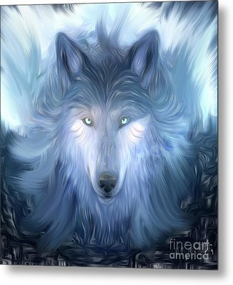 Mysterious Wolf Hand Painted Metal Print by Heinz G Mielke