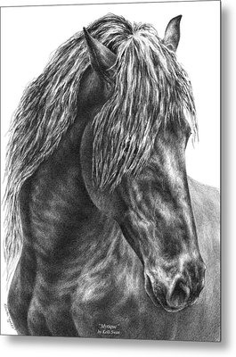 Mystique - Friesian Horse Portrait Print Metal Print by Kelli Swan
