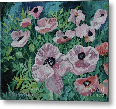 Metal Print featuring the painting Nancy's Poppies by Robin Maria Pedrero