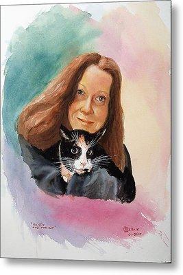 Nandi And Her Cat Metal Print by Charles Hetenyi