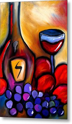 Napa Mix - Abstract Wine Art By Fidostudio Metal Print by Tom Fedro - Fidostudio