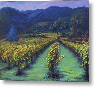 Napa Valley Vineyards Down Silverado By Deirdre Shibano Metal Print by Deirdre Shibano