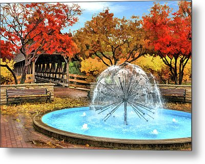 Metal Print featuring the painting Naperville Dandelion Fountain by Christopher Arndt