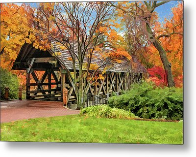 Metal Print featuring the painting Naperville Riverwalk Covered Bridge by Christopher Arndt