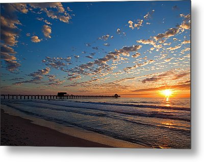 Naples Pier Days End. Metal Print by Nick  Shirghio