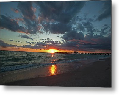 Naples Pier Sunset  Metal Print by Nick  Shirghio